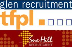 Logos of Glen Recruitment, TFPL and Sue Hill Recruitment
