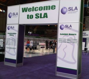 The SLA welcome arch and registration desk