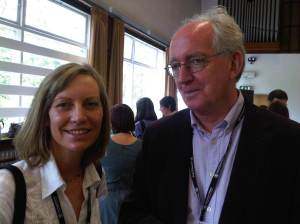 Former colleagues Jenny Craven and Peter Brophy catch up at coffee break