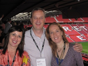 Val Skelton, Brian Detlor and Hazel Hall at Old Trafford, home of Manchester United