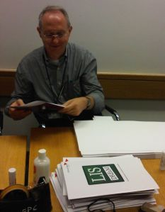 Paul Allchin lent a hand with the delegate packs as a member of the on-site team at the British Library