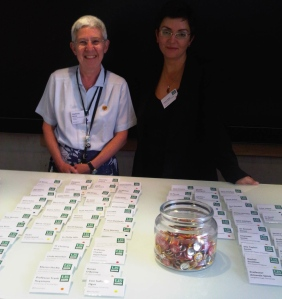Stephanie Kenna and Jenny Gebel at the registration desk
