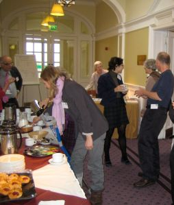 Delegates enjoy the refreshments at Edinburgh Napier Craighouse