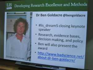 Ben Goldacre announced as #lis_dream5 keynote speaker